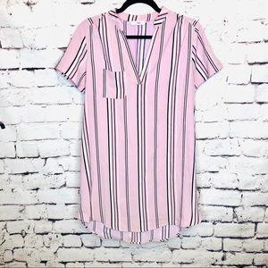 Lush Striped Hi/Low V-Neck T-Shirt Dress